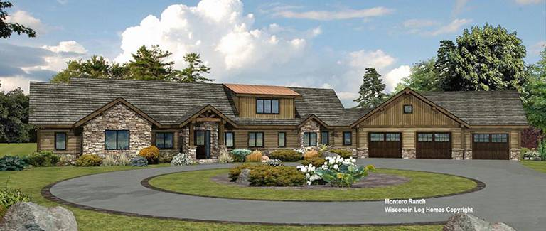 Montero Ranch Front Rendering Log Wisconsin Log Homes