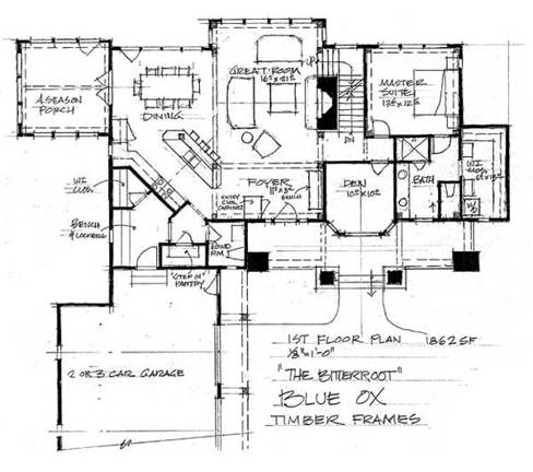 Blue ox timber frames the bitterroot home plan for Timber frame floor plans